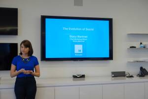 Chief Marketing Officer Stacy Martinet tells students about Mashable's social marketing strategy
